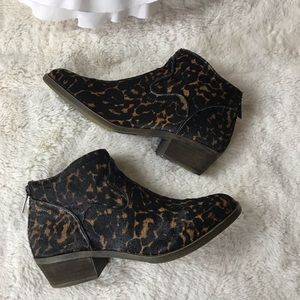 Kensie Leopard Booties Leather Upper Gabor 6.5M